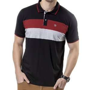 Camisa Polo Recortes Listras TZE Preta