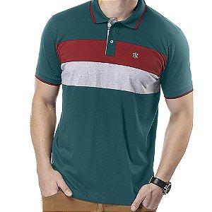 Camisa Polo Recortes Listras TZE Azul
