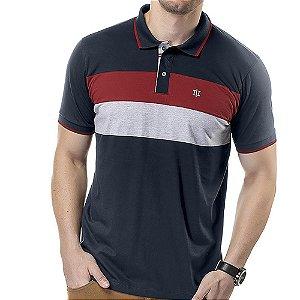Camisa Polo Recortes Listras TZE Marinho