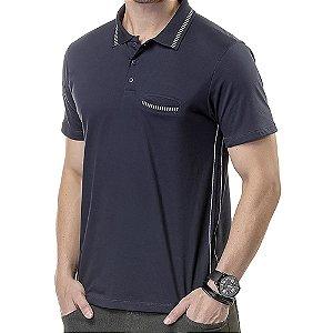Camisa Polo Bolso Costura Contraste TZE Marinho