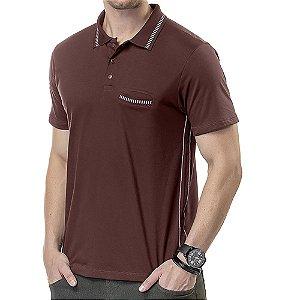 Camisa Polo Bolso Costura Contraste TZE Vinho