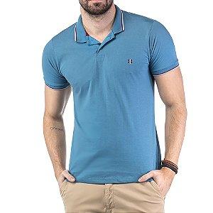 Camisa Polo Bordado TZE Azul