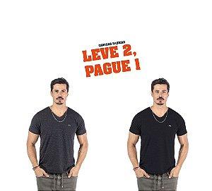 """Camiseta Flamê Decote """"V"""" Plaquinha No Stress - Leve 2, Pague 1"""