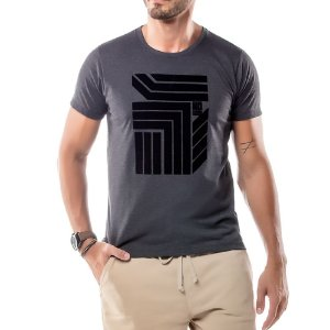 Camiseta Estampa Flocada Geométrico No Stress Mescla Escuro
