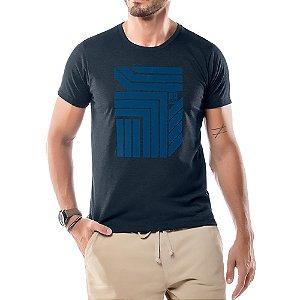 Camiseta Estampa Flocada Geométrico No Stress Azul Marinho