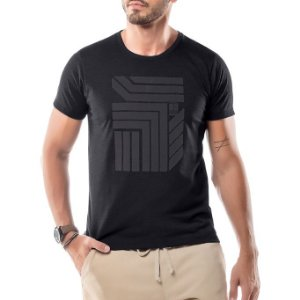 Camiseta Estampa Flocada Geométrico No Stress Preta