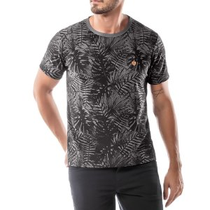 Camiseta Estampa Floral No Stress Cinza