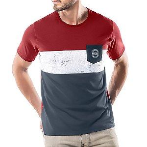 Camiseta Recortes e Bolso No Stress Vermelha