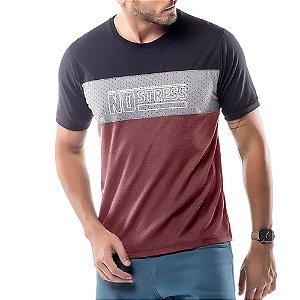 Camiseta Recortes Logo No Stress Azul Marinho