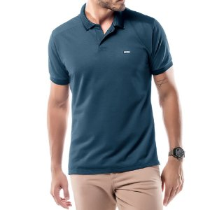 Camisa Polo Piquet Golden No Stress Azul