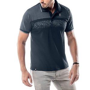 Camisa Polo Estampa Reticulada No Stress Azul Marinho