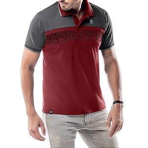 Camisa Polo Estampa Reticulada No Stress Vermelha