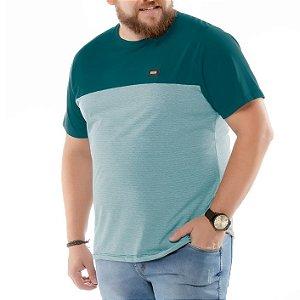 Camiseta Recortes e Bolso Plus No Stress Azul