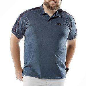 Camisa Polo Recorte Ombros Plus No Stress Azul Marinho