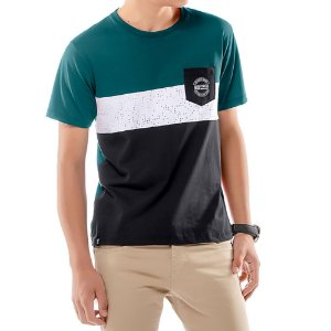 Camiseta Recortes e Bolso Menino No Stress Azul