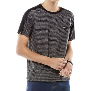 Camiseta Listras Twice Menino No Stress Preta
