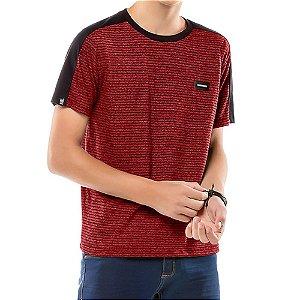 Camiseta Listras Twice Menino No Stress Vermelha