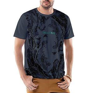 Camiseta Estampa Ondas TZE Azul Marinho