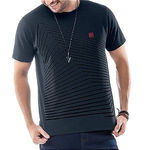 Camiseta Estampa Gel Geométrica TZE Azul Marinho