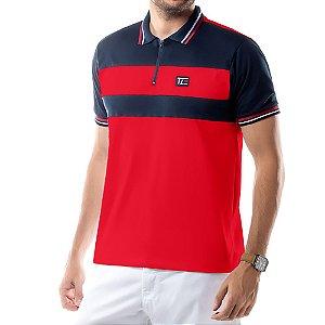Camisa Polo Recortes e Zíper TZE Vermelha