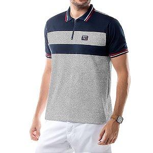 Camisa Polo Recortes e Zíper TZE Mescla
