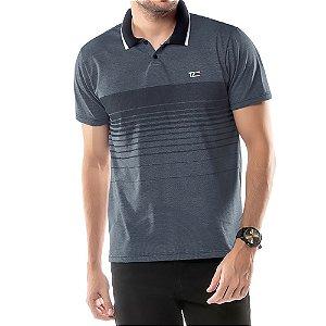 Camisa Polo Estampa Listras TZE Azul Marinho