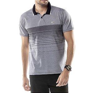 Camisa Polo Estampa Listras TZE Preta