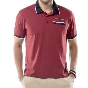 Camisa Polo Bolso Retilínea Jacquard TZE Vermelha