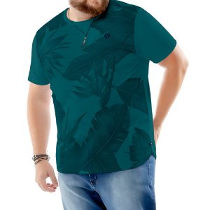 Camiseta Estampa Floral Plus TZE Azul