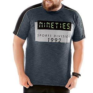 Camiseta Recorte Ombros Plus TZE Azul Marinho