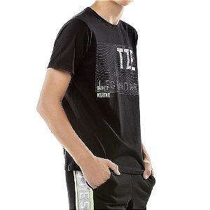 Camiseta Estampa Listras Menino TZE Preta