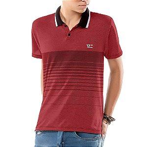 Camisa Polo Estampa Listras Menino TZE Vermelha