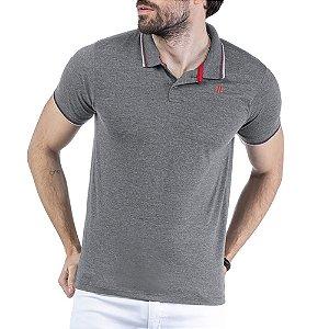 Camisa Polo Estampa Logo TZE Mescla Escuro