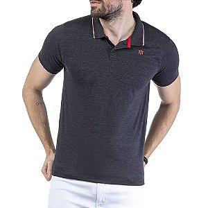 Camisa Polo Estampa Logo TZE Azul Marinho