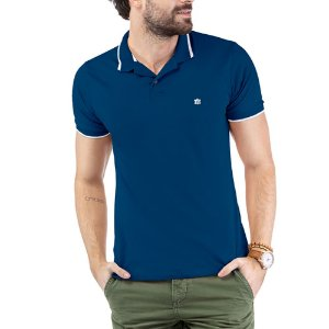 Camisa Polo Aplique Logo TZE Azul
