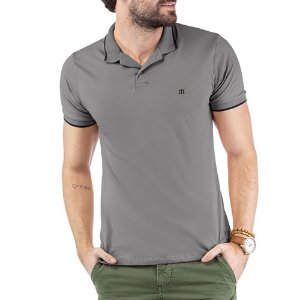Camisa Polo Aplique Logo TZE Cinza