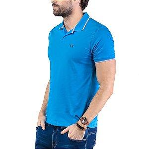 Camisa Polo Plaquinha Logo TZE Azul