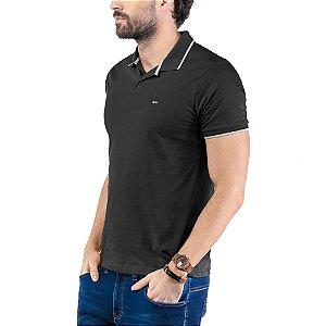 Camisa Polo Plaquinha Logo TZE Preta