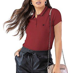Camisa Polo Piquet Bordado Oui.la.vie Vermelha