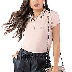 Camisa Polo Piquet Bordado Oui.la.vie Rosa