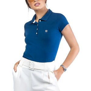 Camisa Polo Cotton Bordado Oui.la.vie Azul