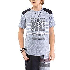 Camiseta Recorte Ombros Estampa Logo Menino No Stress