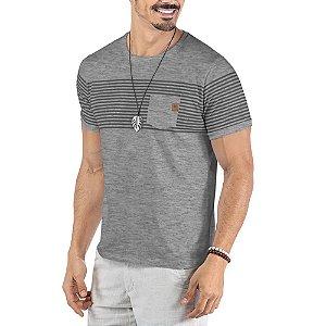 Camiseta Estampa Listras Bolso No Stress