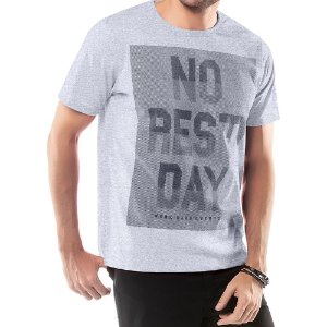 Camiseta Estampa NO REST DAT Frontal TZE Mescla