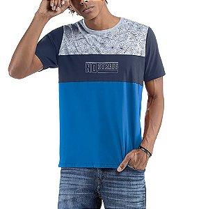 Camiseta Floral No Stress Azul