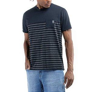 Camiseta C/Bolso Listrada No Stress Azul