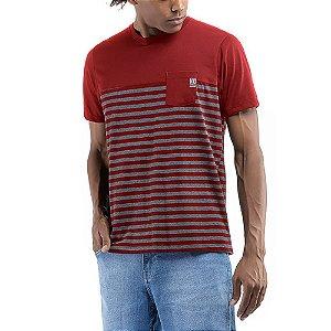 Camiseta C/Bolso Listrada No Stress Tomato