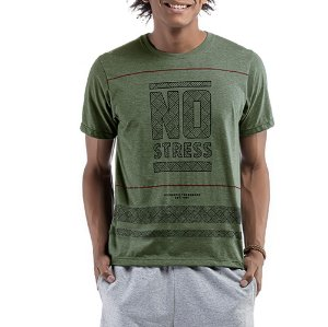 Camiseta C/ Estampa No Stress Cinza