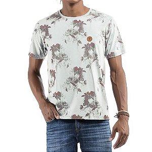 Camiseta Floral C/ Aplique No stress Branca