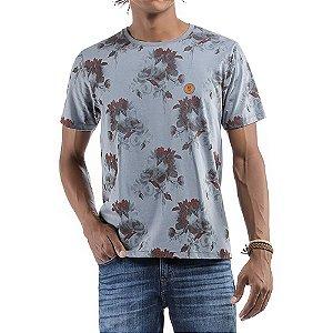 Camiseta Floral C/ Aplique No stress Cinza